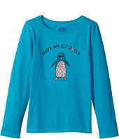 Life is Good Kids - Ice Daisy Penguin Long Sleeve Crusher Tee (Little Kids/Big Kids)