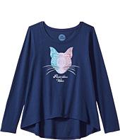 Life is Good Kids - Pawsitive Vibes Cat Long Sleeve Scoop Neck Swing Tee (Little Kids/Big Kids)