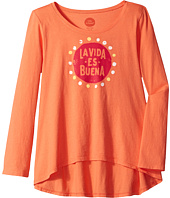 Life is Good Kids - La Vida Es Buena Long Sleeve Scoop Neck Swing Tee (Little Kids/Big Kids)