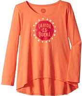 Life is Good Kids - La Vida Es Buena Long Sleeve Scoop Neck Swing Tee (Little Kids/Big Kids)