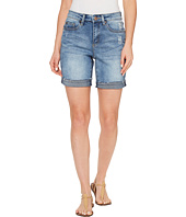 Tribal - Stretch Denim Boyfriend shorts w/ Abrasion in Faded Blue