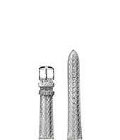 Michele - 18mm Metallic Braided Leather Strap Sliver
