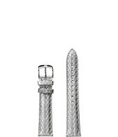 Michele - 18mm Metallic Braided Leather Strap Sliver