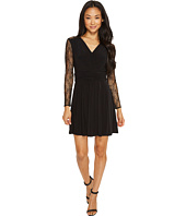 Tahari by ASL Petite - Petite Faux-Wrap Dress with Lace Sleeves