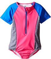 Speedo Kids - Short Sleeve Zip One-Piece Swimsuit (Big Kids)