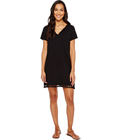 Michael Stars - Notched Neck Tee Dress w/ Fringe