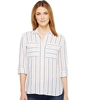 TWO by Vince Camuto - Long Sleeve Stripe Relaxed Linen Shirt