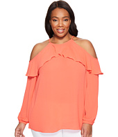 MICHAEL Michael Kors - Plus Size Cold Shoulder Flounce Top