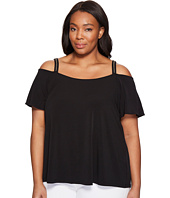 MICHAEL Michael Kors - Plus Size Stud Stripe Cold Shoulder Top