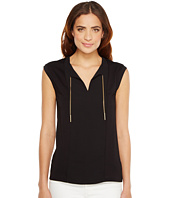 MICHAEL Michael Kors - Sleeveless Woven Panel Chain Tie Top