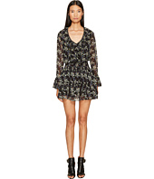 The Kooples - Low-Cut Short Dress with Long Sleeves and Frilly Hem