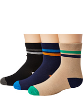 Jefferies Socks - Stripe Navy/Khaki/Black Crew 3-Pack (Toddler/Little Kid/Big Kid)