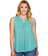 Lucky Brand - Plus Size Embroidered Pintuck Tank Top