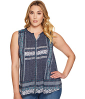 Lucky Brand - Plus Size Border Print Button Up Shell