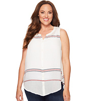 Lucky Brand - Plus Size Stripe Tie Front Top