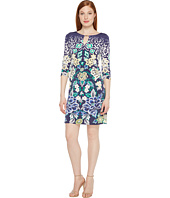 Sangria - Printed Shift Dress with Keyhole Neckline