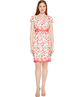 Sangria - Floral Printed Sheath with Cap Sleeve