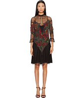 Just Cavalli - Mesh Inset Roses Heart Printed 3/4 Sleeve Dress