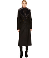 Just Cavalli - Faux Fur Collar Double Breasted Peacoat