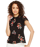 Rebecca Taylor - Short Sleeve Lace Top w/ Embroidery