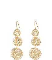 Kenneth Jay Lane - 3 Wrap Gold Wire Ball Drop Fishhook Ear Earrings
