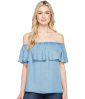 7 For All Mankind - Off Shoulder Ruffled Denim Top