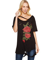 Brigitte Bailey - Darcey Rose Patch Distressed Top with Neck Cut Out