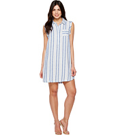 TWO by Vince Camuto - Sleeveless Sky Stripe Linen Collared Dress