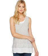 TWO by Vince Camuto - Sleeveless Double Layer Mix Media V-Neck Top