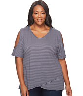 Extra Fresh by Fresh Produce - Plus Size Pinstripe Crossover Escape Top