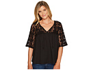 3/4 Sleeve Mesh Lace and Chiffon Top