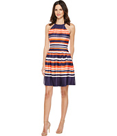 Vince Camuto - Printed Scuba Halter Fit and Flare Dress