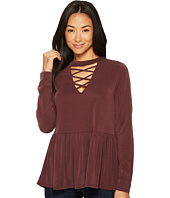 Culture Phit - Jasmyn Long Sleeve Lace-Up Ruffle Top
