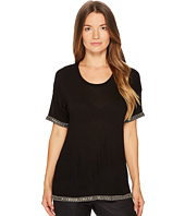 The Kooples - T-Shirt with Embroidery at the Neck, Sleeves and Hem