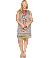 London Times - Plus Size Cotton Sateen Shift Dress
