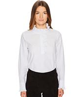 Kate Spade New York - Stripe Ruffle Neck Poplin Shirt