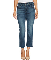 NYDJ Petite - Petite Marilyn Straight Ankle Jeans w/ Raw Hem in Crosshatch Denim in Desert Gold