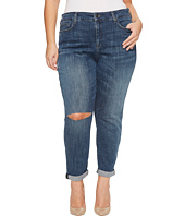 NYDJ Plus Size - Plus Size Girlfriend Jeans with Knee Slit in Crosshatch Denim in Newton