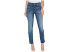 Ami Skinny Ankle Jeans w/ Fray Side Slit in Crosshatch Denim in Newton