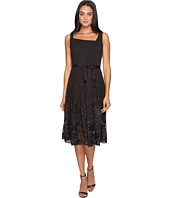 Tahari by ASL - Embroidered Hem Chiffon Dress