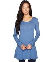 Mod-o-doc - Slub Jersey Shirred Asymmetrical Hem Long Sleeve Tunic