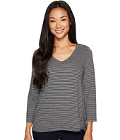 Mod-o-doc - Heather Stripe Jersey 3/4 Sleeve Tee with Lace-Up Back