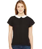 CeCe - Short Sleeve Contrast Peter Pan Collar Blouse