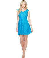 Ellen Tracy - Lace Fit & Flare Dress with V-Neck