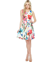 Ellen Tracy - A-Line Printed Scuba Dress with V-Neck