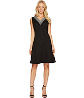 Ellen Tracy - Fit & Flare Pique Dress with V-Neck