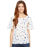 CeCe - Short Bell Sleeve Floating Petals Blouse