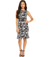 Taylor - Sleeveless Printed Jersey Dress with Flounce