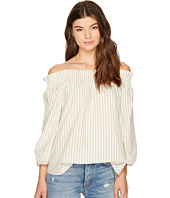 kensie - Oxford Stripe Off Shoulder Shirting Top KS8K4353
