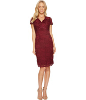 Ellen Tracy - Lace Dress with Short Sleeves and V-Neck